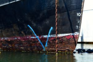 Rusting hull of the Viki Lyne II