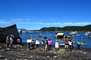 Beach and flotilla protesters