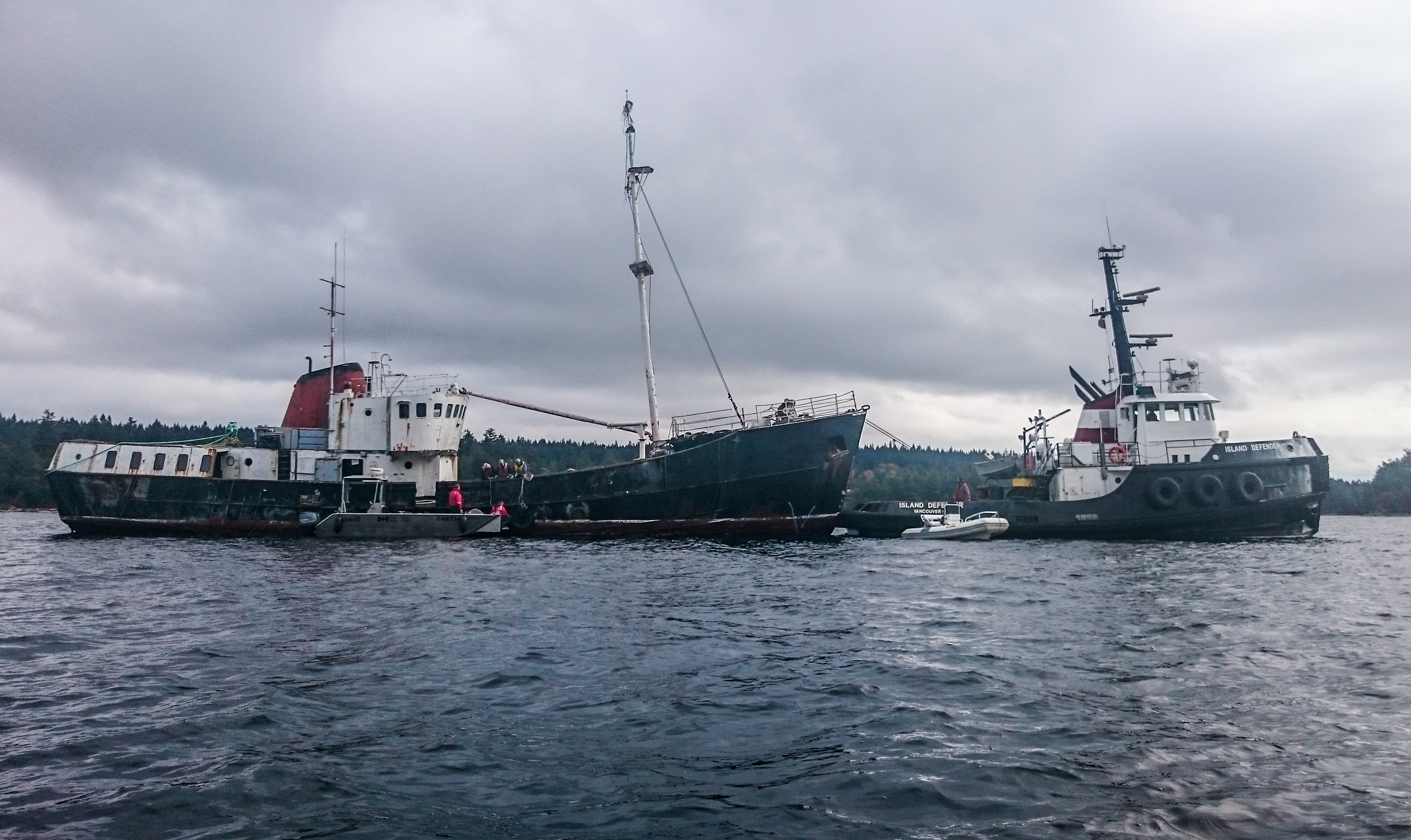 The abandoned and decaying Viki Lyne II is finally being towed away for safe dismantling after sitting in Ladysmith Harbour since 2012.