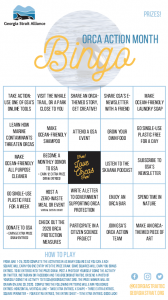Orca Month 2020 Bingo Card
